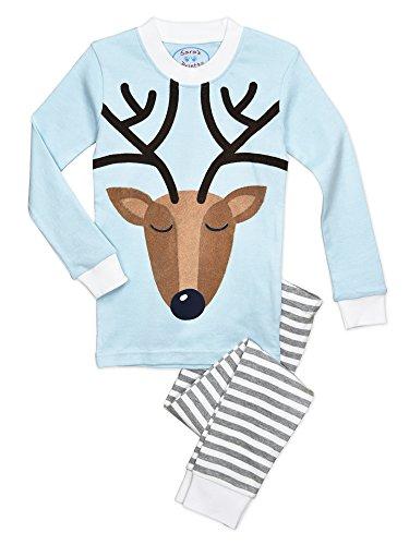- Sara's Prints Big Unisex Kids All Cotton Long John Pajamas, Reindeer - Shgf, 10