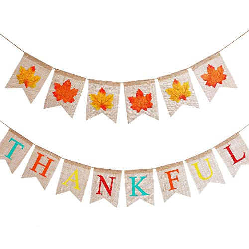 Cheap  Tatuo 2 Pieces Jute Burlap Thankful Banners for Thanksgiving Day, Celebration Party..