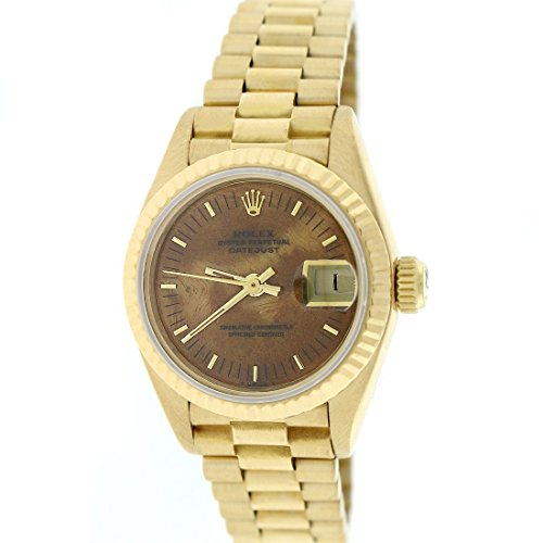 Rolex President Datejust Ladies Yellow Gold 26MM Factory Wooden Dial Watch 69178 (Certified (Ladies Rolex Datejust President Watch)