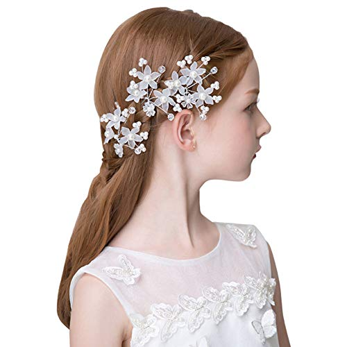 Calixdlf Bridal Headband Ivory Flower Bridal Hair Comb Fork - Silver Wedding Headpiece Women Accessories