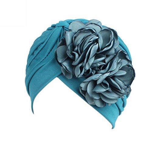 QingFan Women Muslim Solid Flowers Cancer Chemo Hat Turban Headbands Hair Loss Wrap Cap (Blue)]()