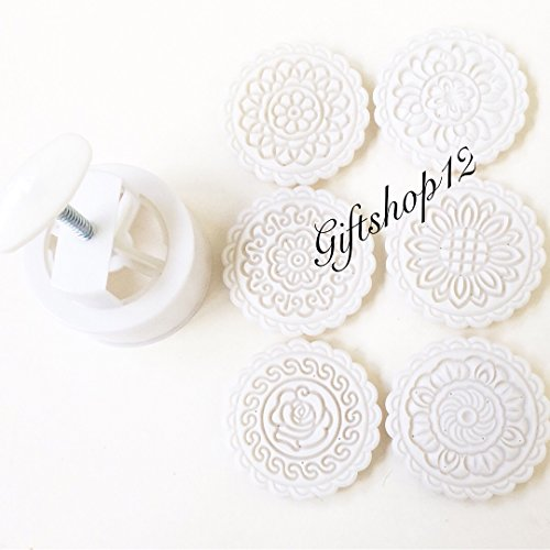 Giftshop12 Mooncake Molds Cookie Cutter Molds Extra Large Round 6 Stamps 250g