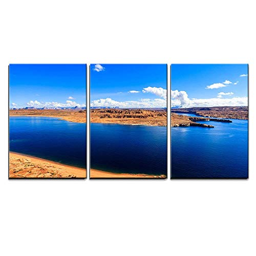- wall26 - 3 Piece Canvas Wall Art - The Beautiful Lake Powell in Utah. - Modern Home Decor Stretched and Framed Ready to Hang - 24