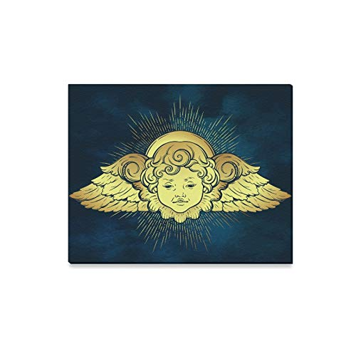 Wall Art Painting Gold Cherub Cute Winged Curly Smiling Prints On Canvas The Picture Landscape Pictures Oil for Home Modern Decoration Print Decor for Living ()
