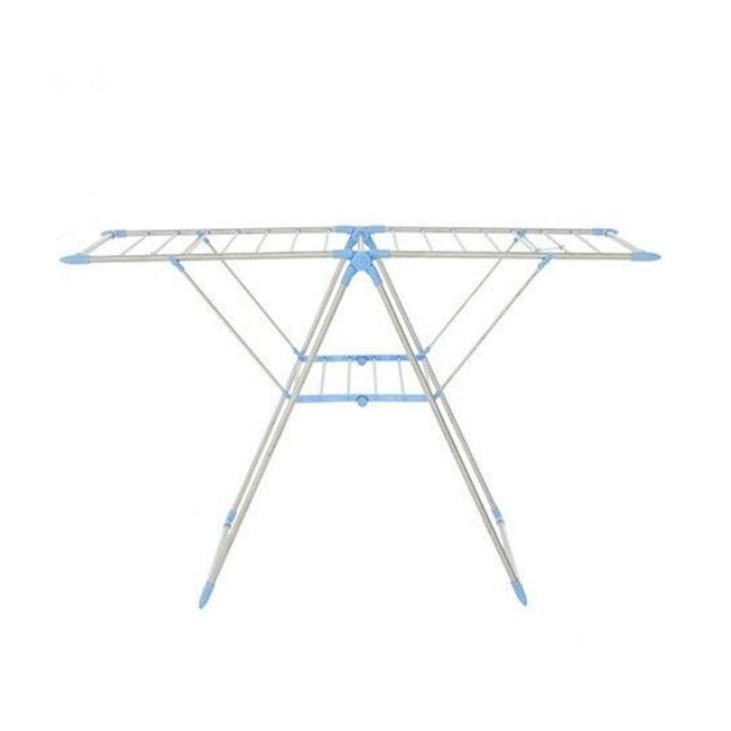 ZXW 乾燥ラック- ステンレススチールシンプルな折りたたみ乾燥ラックバルコニータオルラックハンガー (色 : 青, サイズ さいず : 60x156cm) B07KPKYQMT 青 60x156cm