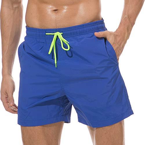 Skywoo Men'S Quick Dry Swim Trunks Beach Wear Shorts Mesh Lining Swimwear Bathing Suits Blue, X-SMALL