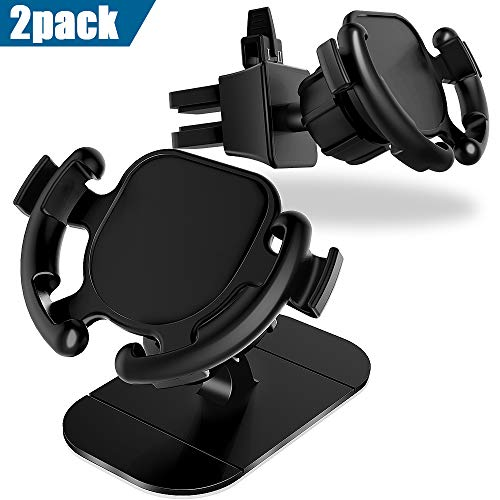 GONJOY Car Phone Mount, Car Mount 360° Rotation & Holder Cable Clip,Universal Stick on Dashboard and Upgrade Air Vent Clip with 2-Level Adjustable Clamp[2 Pack]
