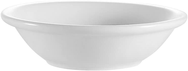 CAC China RCN-11 Clinton Rolled Edge 4 3/4-Inch 5-Ounce Super White Porcelain Fruit Bowl, Box of 36