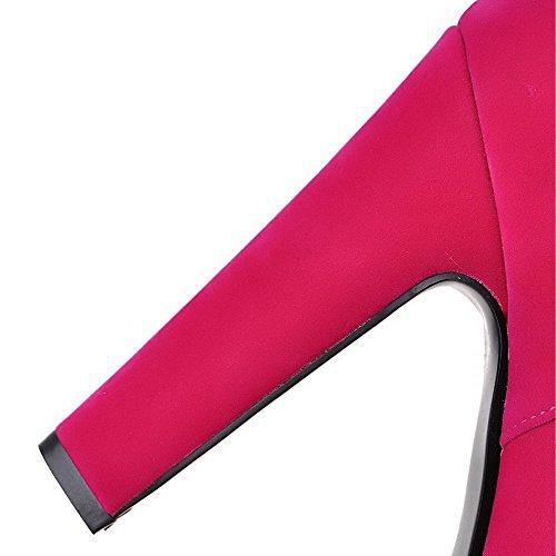 AllhqFashion Damen Rund Zehe Rein Niedrig-Spitze Hoher Absatz Stiefel mit Metallisch Rosa