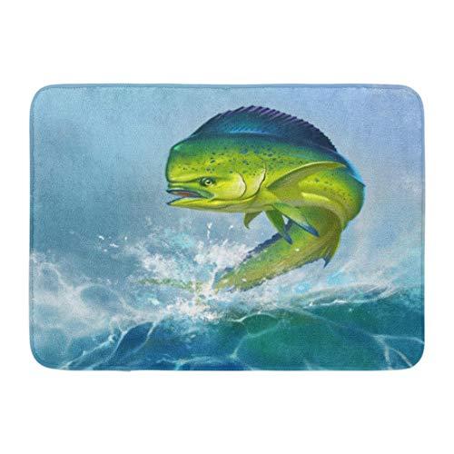 Puyrtdfs Doormats Bath Rugs Outdoor/Indoor Door Mat Green Ocean Mahi Dolphin Fish on Blue Dorado Fishing Saltwater Big Bathroom Decor Rug 16