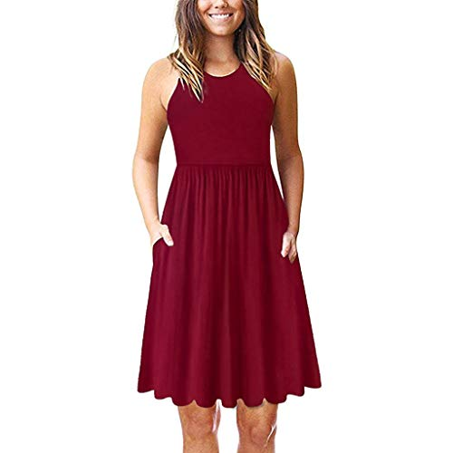 (Aunimeifly Ladies Plain Sleeveless Dress Women Summer Stylish Round Neck A Line Pleated Dresses Red)