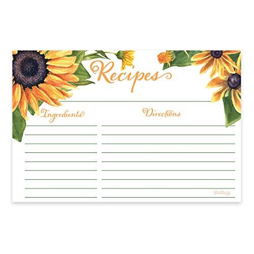 Sunflower Yellow Floral Recipe Cards from Dashleigh, 48 Cards, 4x6 inches, The Gift Collection, Water-Resistant and Double-Sided (Yellow Sunflower) ()