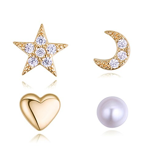 16K Gold Plated Environmentally-Friendly Alloy 925 Sterling Silver Post 4 Pcs of Stud Earrings Set ()