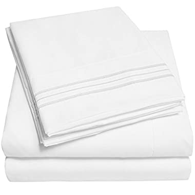 6 Piece Bed Sheets Set Hotel Quality 100% Brushed Microfiber, Luxurious, Breathable, Comfortable, Soft & Highly Durable, Flat Sheet, Fitted Sheet and 4 Pillow cases - By Alurri (Queen, White)
