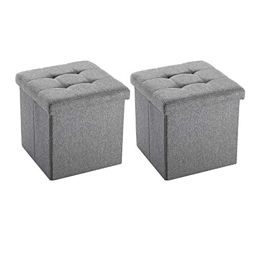 NB Liner Square Storage Ottoman Small Cube Footrest Stool Seat Faux Leather Toy Chest Black 15