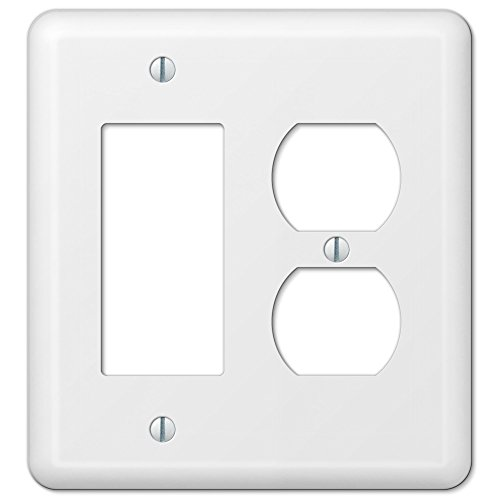 White Metal Rocker GFCI Duplex Outlet Cover Wall Plate Combo Enamel Finish