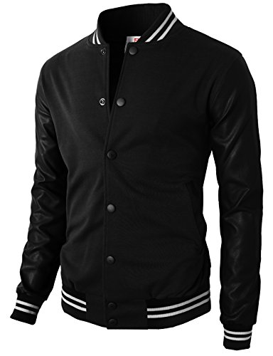 H2H Mens Baseball Varsity Jacket with Detachable Hoodie JetBlack US 2XL/Asia 3XL - Leather Letterman