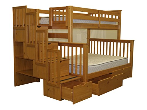 Stairway Bunk Bed Twin over Full with 4 Drawers in the Steps