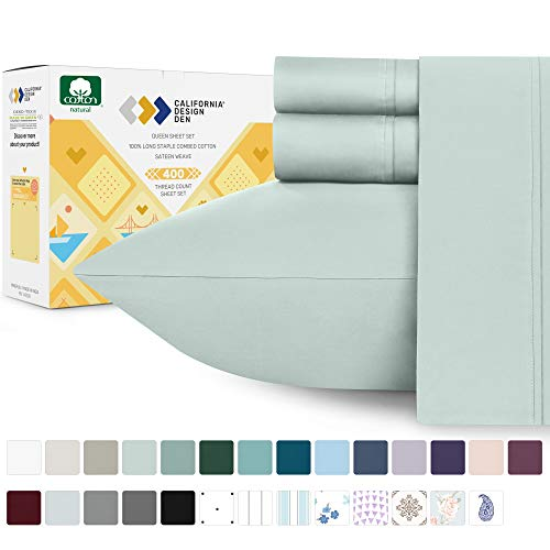400 Thread Count 100% Cotton Sheet Set on Amazon - Mod Spa Queen Size Best Sheets - 4 Piece Set, Highest Quality Long-staple Combed Pure Natural Cotton Bed Sheets For Bed, Soft & Silky Sateen Weave from California Design Den