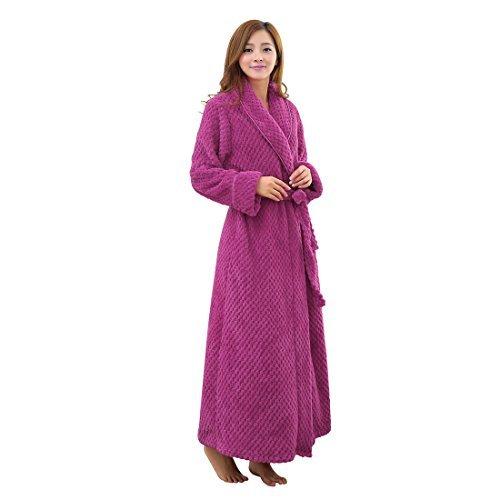 eDealMax Maison Chaud en peluche Femmes douce en Polaire Peignoir Robe, Fuchsia (S/M)