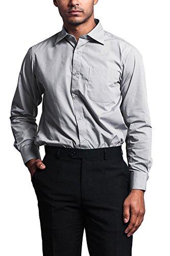 (G-Style USA Men's Regular Fit Long Sleeve French Convertible Cuff Dress Shirt - Silver - 2XL/18/34-35)