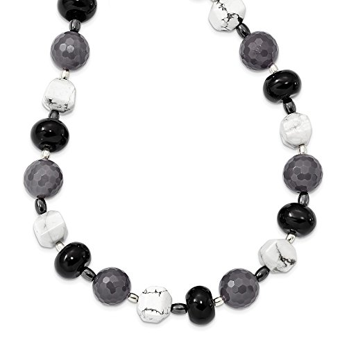 925 Sterling Silver Black Grey Agate/hematite/howlite Chain Necklace