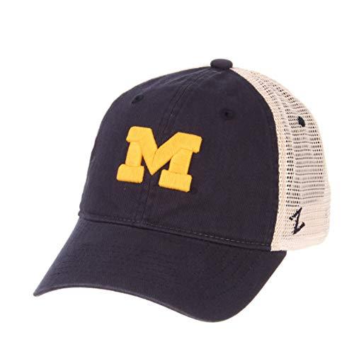 Zephyr University of Michigan UM Wolverines University Top Big Blue Washed Unstructured University Adult Mens Adjustable Baseball Hat/Cap