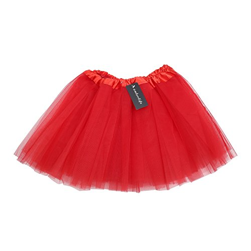 [Anleolife 12'' Ballet Tutu Dress Cheap Birthday Tutu Skirt Ballet Dance Mini Skirts(red)] (Red Tutu Kids)