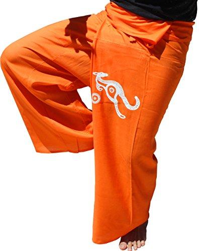 RaanPahMuang Rayon Viscose Fabric Fisherman Pants Aboriginal Kangaroo Print Art, X-Large, Orange