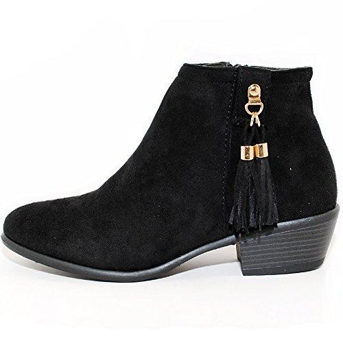 Women's Western Inside Zipper Stacked Heel Ankle Booties (6.5, Black)