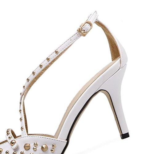 hebilla vestido sandalias de de de tobillo tacón solo sandalias correas Punta vestir remaches zapatos aguja white mujeres de sandalias formal las QPYC estrecha de qOawU4q