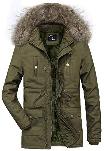 Doublure D'hiver Classique Homme Mens vert Fourrure Épais Capuche Hooded En Manteaux Chaud Jiinn Winter Armée Parka A Coat A Blousons Extérieure Veste Laine 5qtwnO