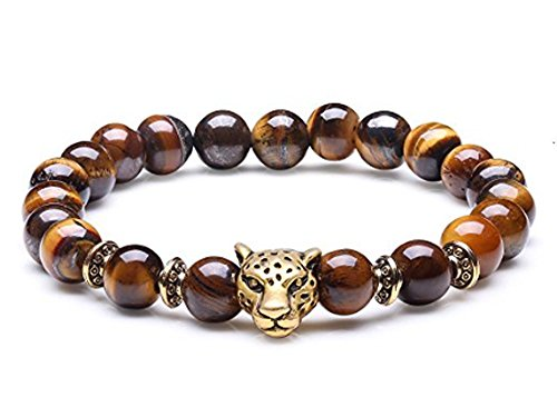 MO SI YI Natural Energy Stone Beads Stretchy Bracelet with 3D Gold Plated Leopard Charm (Tiger's (Tiger Eye Charm)