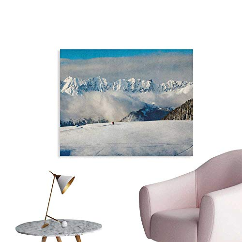 Anzhutwelve Winter Wall Picture Decoration Panoramic View on Mountains and Two People Walking French Alps Hiking Travel Art Poster Blue White Brown W28 xL20]()