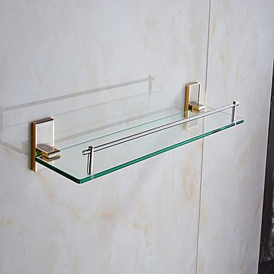 Modern Bathroom Bathroom Shelves,Gold Wall Mounted Glass Shelf,Bathroom Accessory by QCTRSY Bathroom Faucet