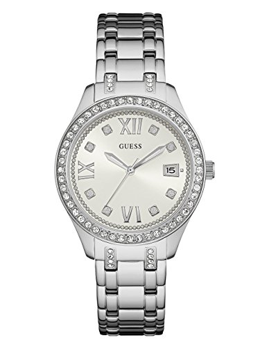 GUESS-Womens-U0848L1-Sporty-Silver-Tone-Watch-with-White-Dial-Crystal-Accented-Bezel-and-Stainless-Steel-Pilot-Buckle