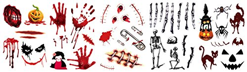 AmDxD Halloween 5 Sets Tattoo Stickers,Men Women Bite Needle Wound Bloody Scars Pumpkin Skull Tsttoos