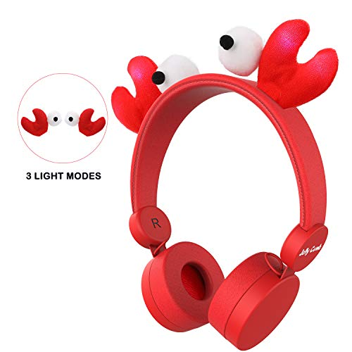 Kids Happy Crab - Kids Headphones, Jelly Comb Wired On Ear Headphones with 85dB Volume Limited Hearing Protection & Music Sharing Function Headphones for Children (Red)