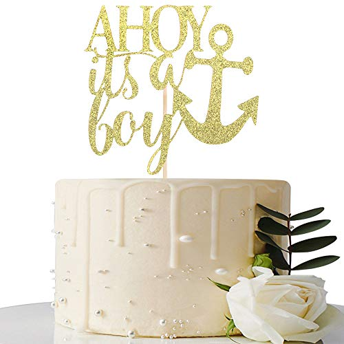 AHOY Its Boy Cake Topper - Baby Shower/Birthday Party/Gender Reveal Party Decorations (Gold)