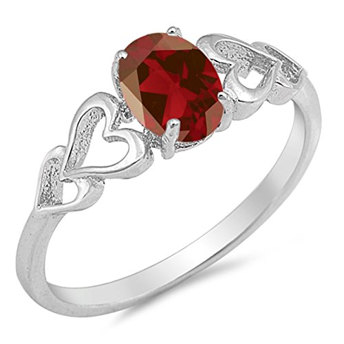 Oval Faceted Garnet Ring - 925 Sterling Silver Faceted Natural Genuine Red Garnet Oval Heart Ring Size 6