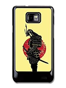 Samurai Martial Arts Fighter In Black Sabre With Japan Flag Cool Style Illustration carcasa de Samsung Galaxy S2