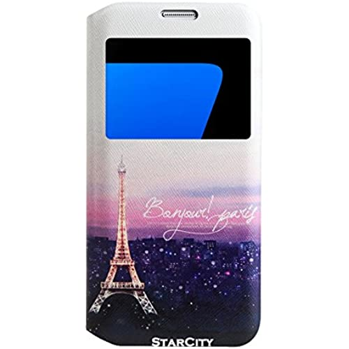 StarCity Premium Slim Flip Window View Cover Folio Case with Magnetic Closure for Samsung Galaxy S7 Edge (Paris Night) Sales