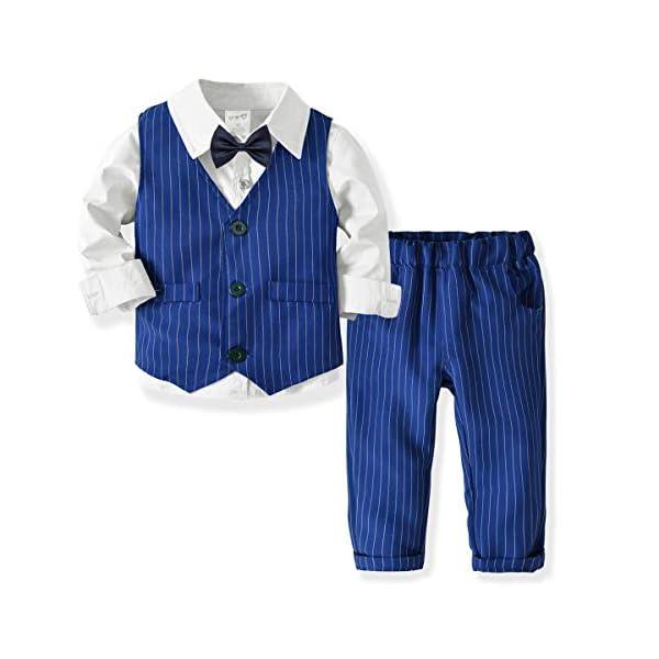 Zoerea 3 Pezzi Bambini Ragazzi Abbigliamento Set Camicia con Papillon+Gilet+Pantaloni, Bambino Ragazzo Gentleman Nozze… 1