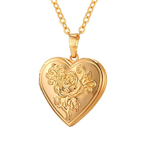 U7 Heart Shaped Photo Locket Pendant Women Fashion Jewelry 18K Gold Plated ()