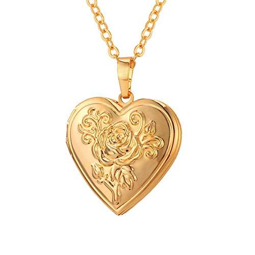 U7 Heart Shaped Photo Locket Pendant Women Fashion Jewelry 18K Gold Plated Necklace -