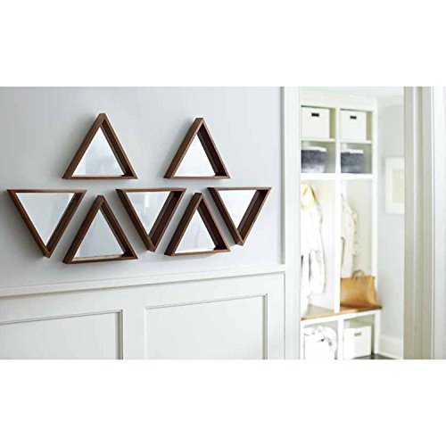 Project 62 Triangle Mirror Set of 3 Walnut Finish Baby Bathroom Beveled Decorative Framed Hanging Set of Small Wall Wooden Shaped Glass Kids - Face Triangle For Glasses Shape