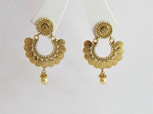 Indian Gold Indian Earrings Jewelry Online/South Indian Earrings/Ethnic Temple Jewelry/Traditional Long Earrings/Chand Bali
