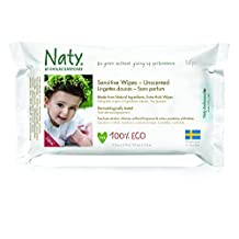 Naty Eco Sensitive Unscented Wipes 56 per pack 12 packs per case. by Naty
