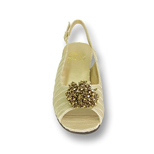 FIC Width Robin Wedding Guide Shoe FLORAL Dress amp; Dinner Prom Wide Gold Measurement Size for Women Evening TqwTrI5