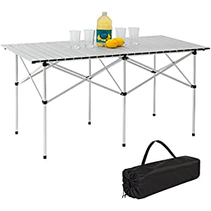 Best Choice Products 55in Portable Roll Up Aluminum Camping Picnic Table w/Carrying Bag Silver